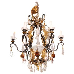Hollywood Regency Chandelier with Crystal and Fruit Drops