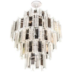 Hollywood Regency Chandelier with Lucite and Mirrored Glass Prisms, 1970s