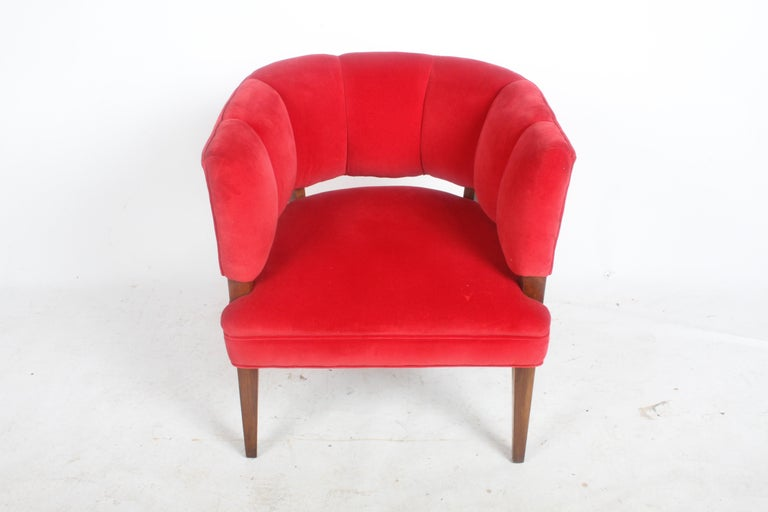 Hollywood Regency Channel Back Club Chair in the Style of William Billy Haines For Sale 4