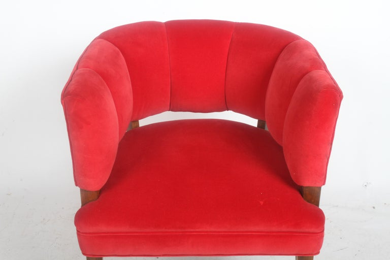 Hollywood Regency Channel Back Club Chair in the Style of William Billy Haines For Sale 5