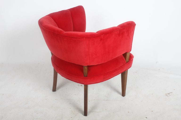 Hollywood Regency Channel Back Club Chair in the Style of William Billy Haines For Sale 7