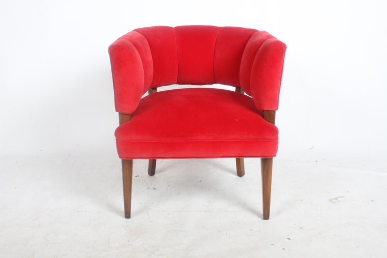 American Hollywood Regency Channel Back Club Chair in the Style of William Billy Haines For Sale