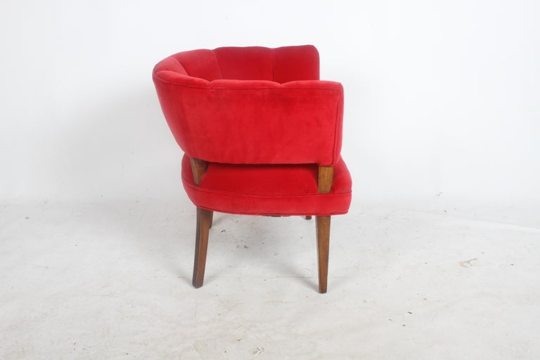 Stained Hollywood Regency Channel Back Club Chair in the Style of William Billy Haines For Sale