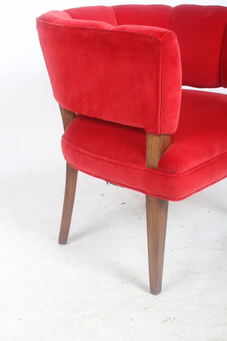 Mid-20th Century Hollywood Regency Channel Back Club Chair in the Style of William Billy Haines For Sale