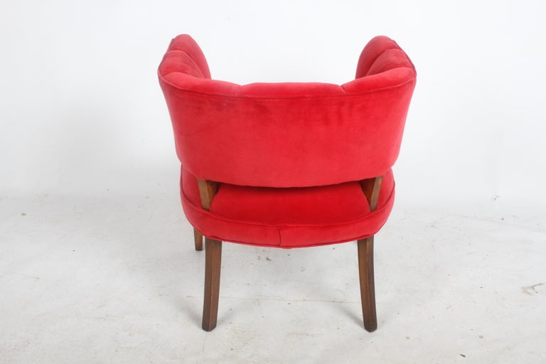 Upholstery Hollywood Regency Channel Back Club Chair in the Style of William Billy Haines For Sale