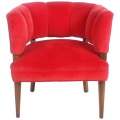 Hollywood Regency Channel Back Club Chair in the Style of William Billy Haines