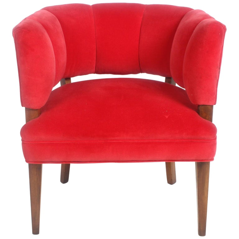 Hollywood Regency Channel Back Club Chair in the Style of William Billy Haines For Sale