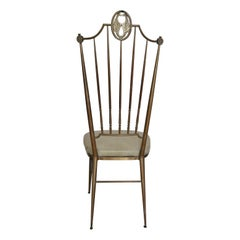 Hollywood Regency Chiavari Chair in Brass, Italy, 1950s
