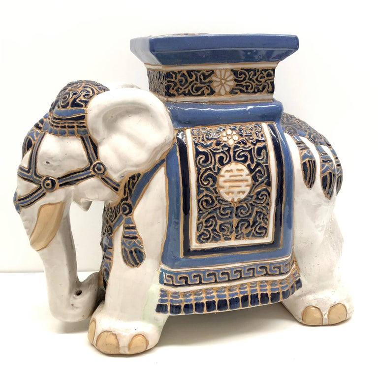 Mid-20th century glazed ceramic elephant garden stool, flower pot seat or side table. Handmade of ceramic. Nice addition to your home, patio or garden. A nice addition to any room, patio or yard.
