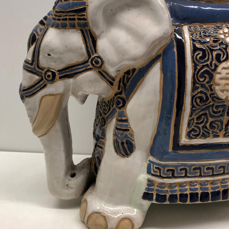 German Hollywood Regency Chinese Blue Ivory Colored Elephant Garden Plant Stand or Seat For Sale