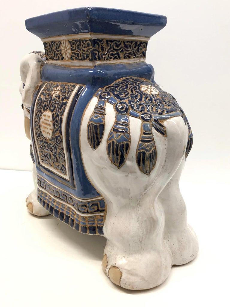 Hollywood Regency Chinese Blue Ivory Colored Elephant