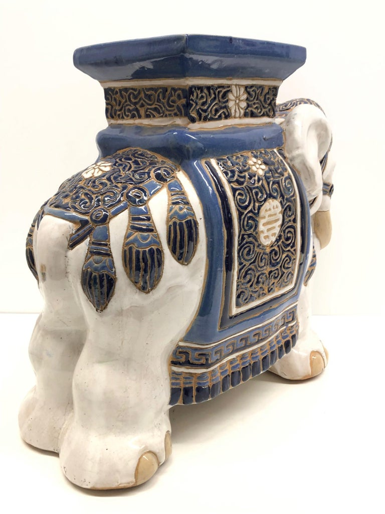 Ceramic Hollywood Regency Chinese Blue Ivory Colored Elephant Garden Plant Stand or Seat For Sale