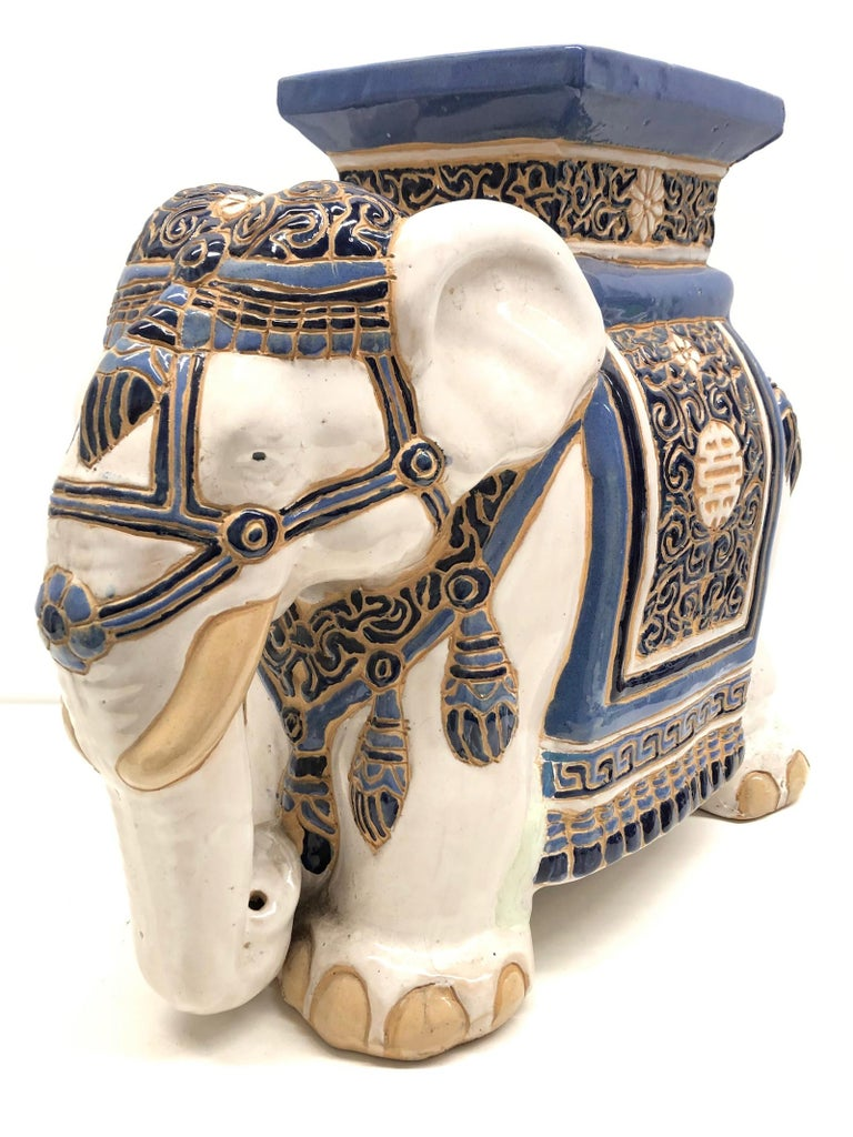 Hollywood Regency Chinese Blue Ivory Colored Elephant Garden Plant Stand or Seat For Sale 2