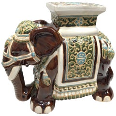 Hollywood Regency Chinese Brown Elephant Garden Plant Stand or Seat