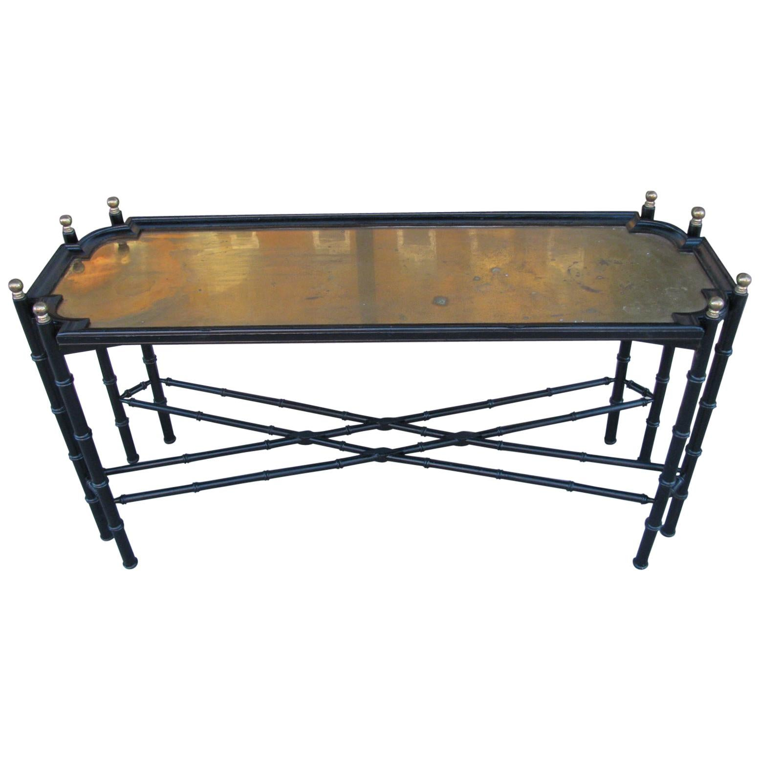 Hollywood Regency Chinese Chippendale Faux Bamboo Brass Sofa Table Made in Spain