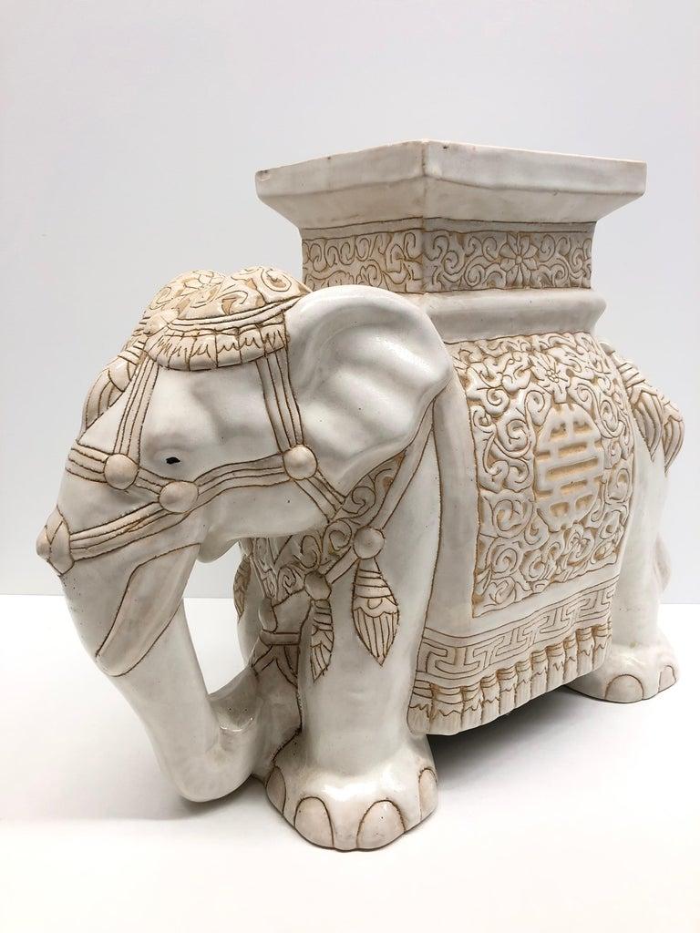 Hollywood Regency Chinese Ivory Colored Elephant Garden