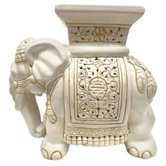 Hollywood Regency Chinese Ivory Colored Elephant Garden Plant Stand or Seat