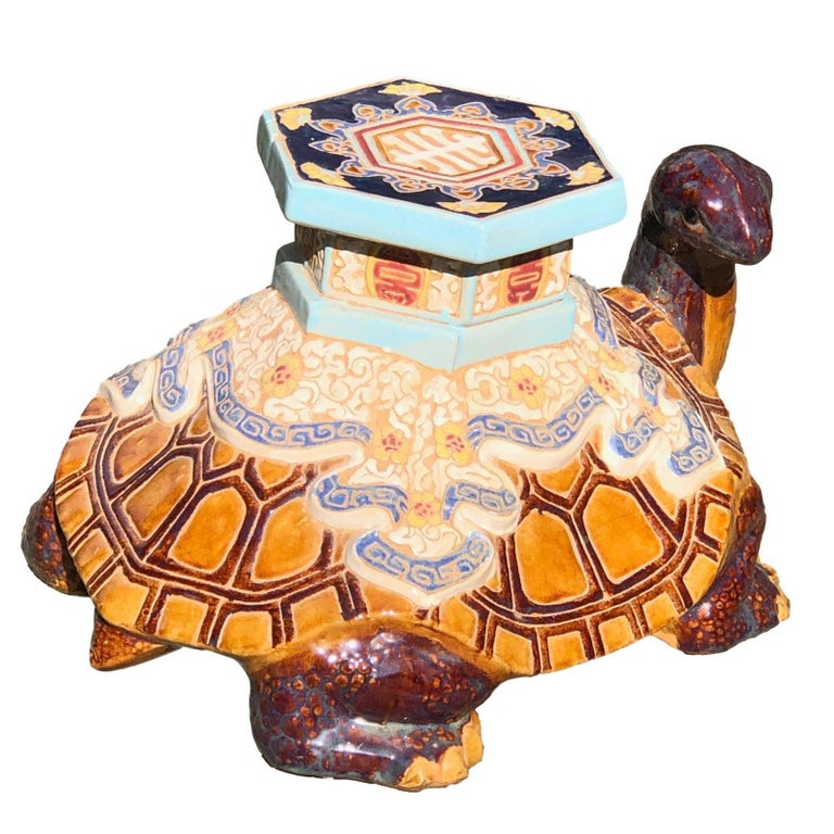 Ceramic Hollywood Regency Chinese Turtle Garden Plant Stand, Seat or Patio Decoration For Sale
