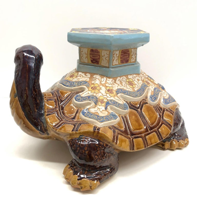 Mid-20th Century Hollywood Regency Chinese Turtle Garden Plant Stand, Seat or Patio Decoration For Sale