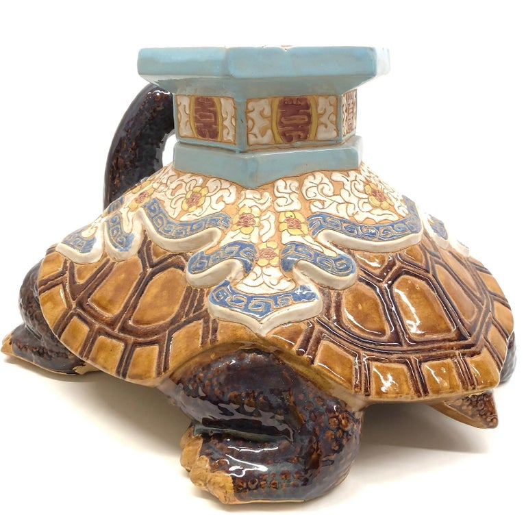 Hollywood Regency Chinese Turtle Garden Plant Stand, Seat or Patio Decoration For Sale 1