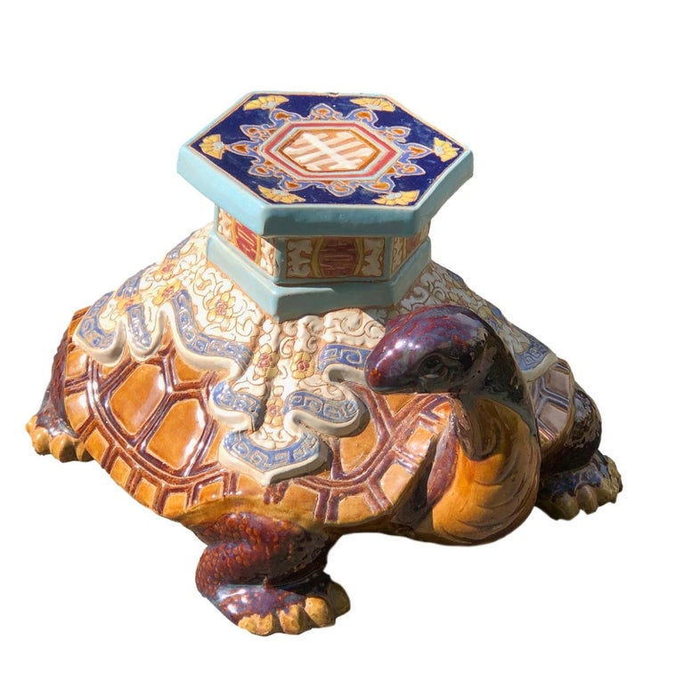Hollywood Regency Chinese Turtle Garden Plant Stand, Seat or Patio Decoration For Sale 3