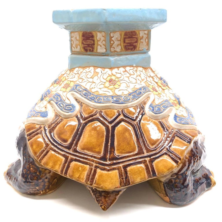 Hollywood Regency Chinese Turtle Garden Plant Stand, Seat or Patio Decoration For Sale 4