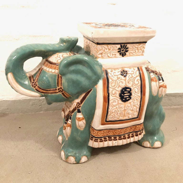 Ceramic Hollywood Regency Chinese Yade Green Elephant Garden Plant Stand or Seat For Sale