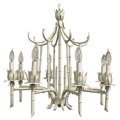 Hollywood Regency Chinoiserie 8-Light Metal Chandelier