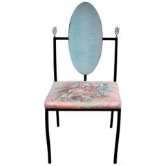 Hollywood Regency Chinoiserie Accent Chair Aqua Red Upholstery Black Steel Tube