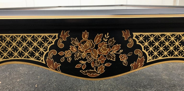 Hollywood Regency Chinoiserie Black and Gold Coffee Table, Drexel Et Cetera For Sale 5