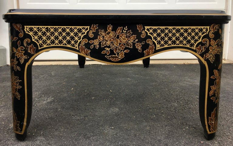 Glass Hollywood Regency Chinoiserie Black and Gold Coffee Table, Drexel Et Cetera For Sale