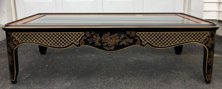 Hollywood Regency Chinoiserie Black and Gold Coffee Table, Drexel Et Cetera For Sale 2