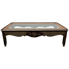 Hollywood Regency Chinoiserie Black and Gold Coffee Table, Drexel Et Cetera