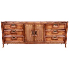 Hollywood Regency Chinoiserie Faux Bamboo and Walnut Triple Dresser by Stanley