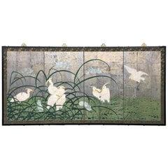 Hollywood Regency Chinoiserie Folding Screen Wall Art Heron Birds Silver Leaf