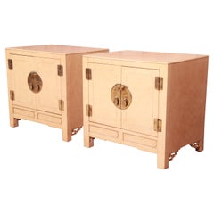 Hollywood Regency Chinoiserie Lacquered Faux Goatskin Bedside Cabinets, 1970s