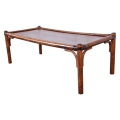 Hollywood Regency Chinoiserie Rattan and Leather Coffee Table