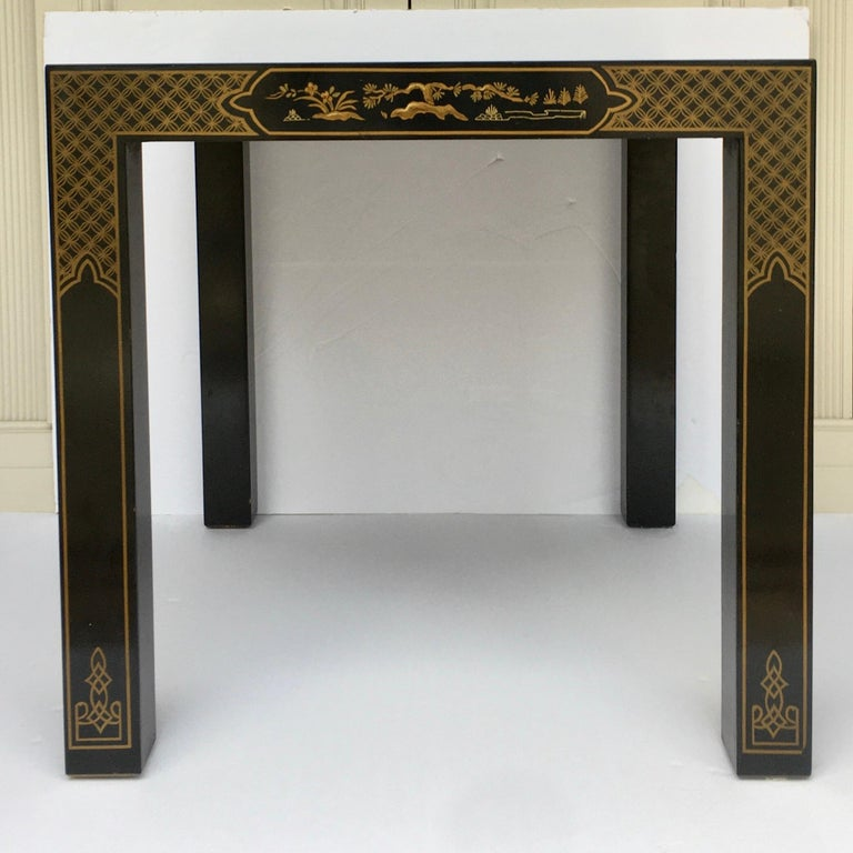 Hollywood Regency Chinoiserie Parsons Side End Tables, Drexel Heritage Et Cetera In Good Condition For Sale In Lambertville, NJ