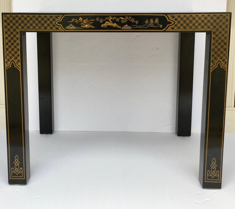 Hollywood Regency Chinoiserie Parsons Side End Tables, Drexel Heritage Et Cetera For Sale 1