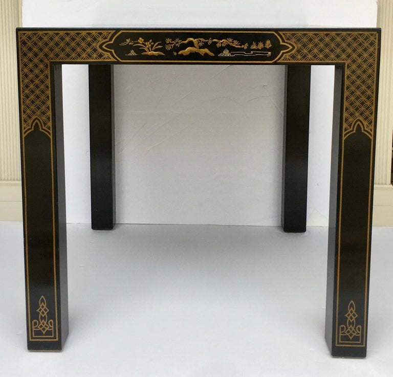 Hollywood Regency Chinoiserie Parsons Side End Tables, Drexel Heritage Et Cetera For Sale 2