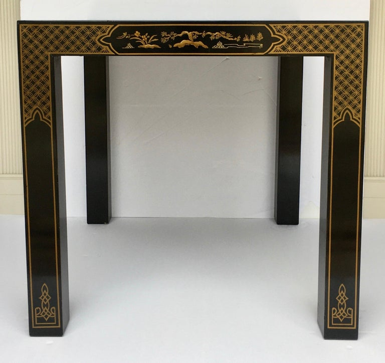 Hollywood Regency Chinoiserie Parsons Side End Tables, Drexel Heritage Et Cetera For Sale 3