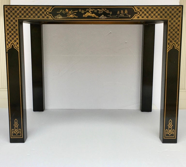 Hollywood Regency Chinoiserie Parsons Side End Tables, Drexel Heritage Et Cetera For Sale 4
