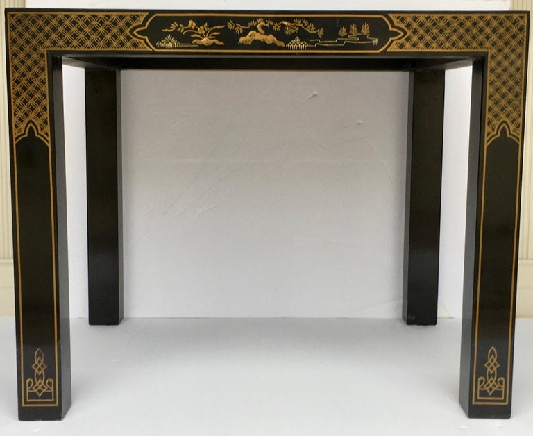 Hollywood Regency Chinoiserie Parsons Side End Tables, Drexel Heritage Et Cetera For Sale 5