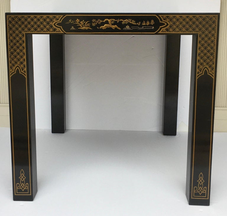 Hollywood Regency Chinoiserie Parsons Side End Tables, Drexel Heritage Et Cetera For Sale 6
