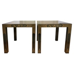 Hollywood Regency Chinoiserie Parsons Side End Tables, Drexel Heritage Et Cetera