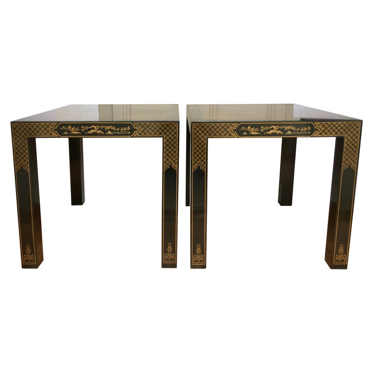 Hollywood Regency Chinoiserie Parsons Side End Tables, Drexel Heritage Et Cetera For Sale