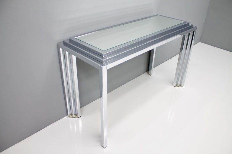 Hollywood Regency Chrome Mirror and Console Table, France, 1974 For Sale 5