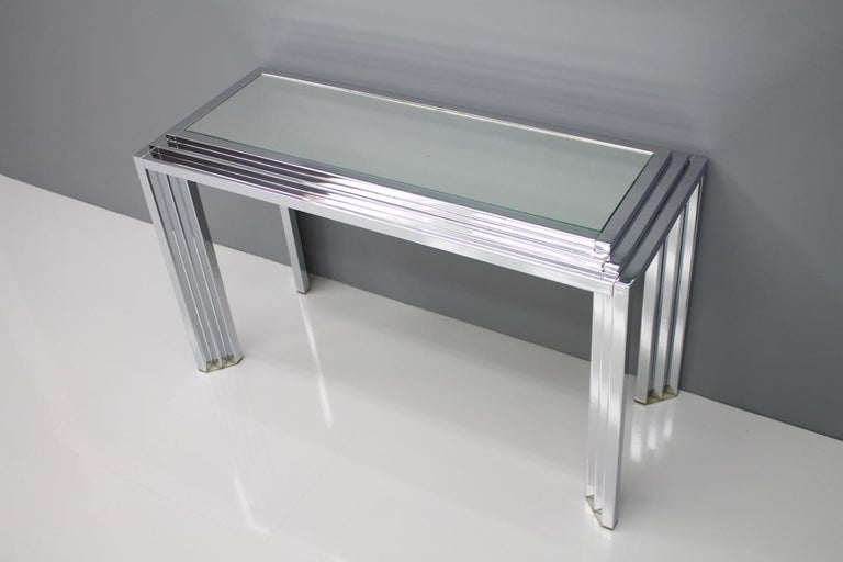 Hollywood Regency Chrome Mirror and Console Table, France, 1974 For Sale 6