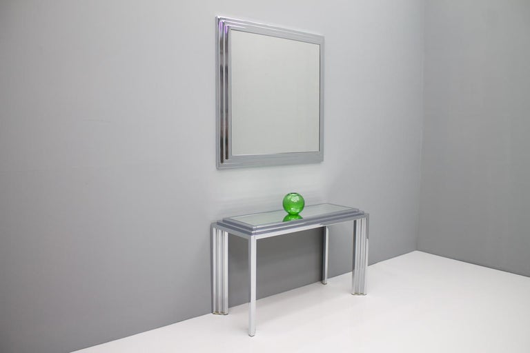 Hollywood Regency Chrome Mirror and Console Table, France, 1974 For Sale 7