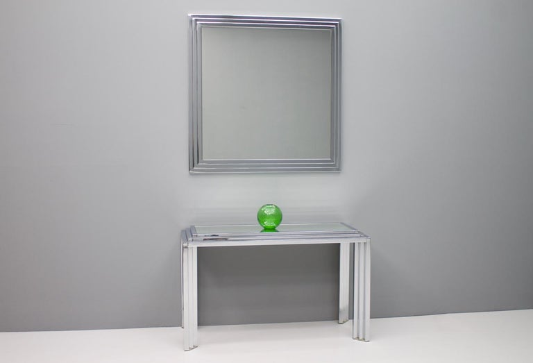 Hollywood Regency Chrome Mirror and Console Table, France, 1974 For Sale 8
